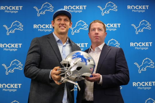 Detroit Lions GM Bob Quinn and first-round draft pick T.J. Hockenson before the news conference Friday, April 26, 2019 at the practice facility in Allen Park.