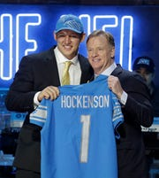 Iowa tight end T.J. Hockenson poses with NFL commissioner Roger Goodell after the Detroit Lions selected Hockenson in the first round at the NFL draft, Thursday, April 25, 2019, in Nashville, Tenn.