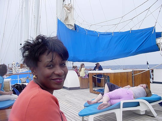 Gerri Toney as pictured during a 2002 vacation to the Bahamas, about a decade before she developed symptoms of Alzheimer's disease.