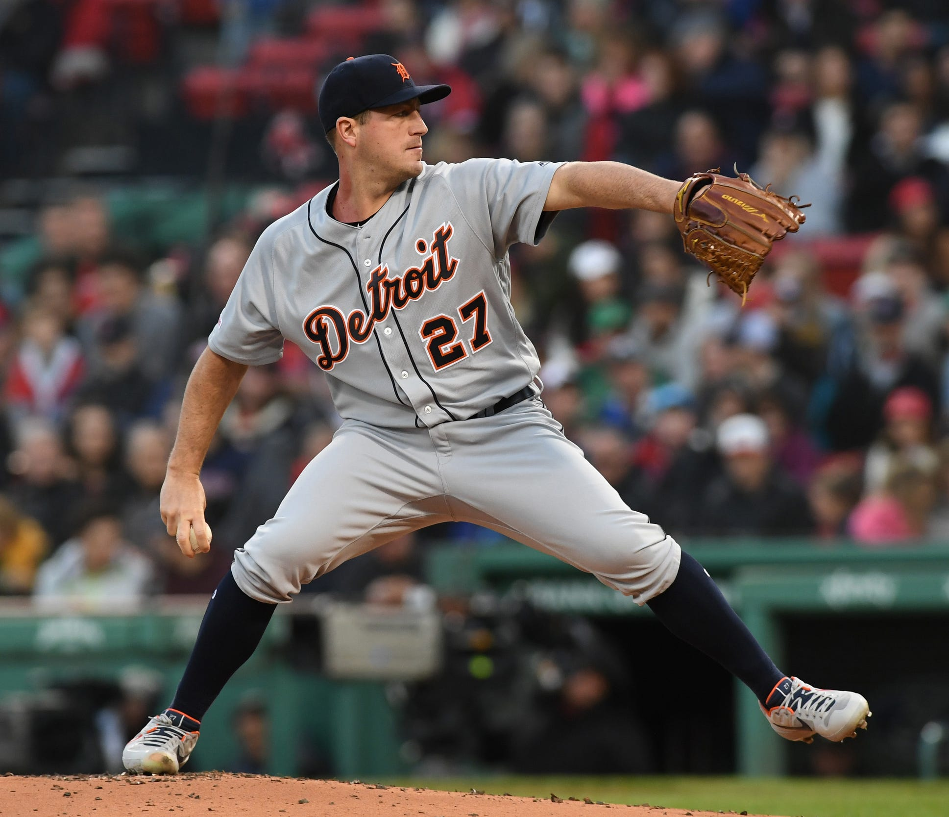 Tigers pitcher Jordan Zimmermann pitches during the first inning on Thursday, April 25, 2019, in Boston.