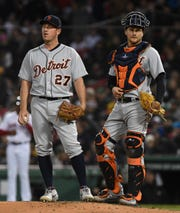 Tigers pitcher Jordan Zimmermann (27) and catcher John Hicks (55) look on from the mound during the third inning on Thursday, April 25, 2019, in Boston.