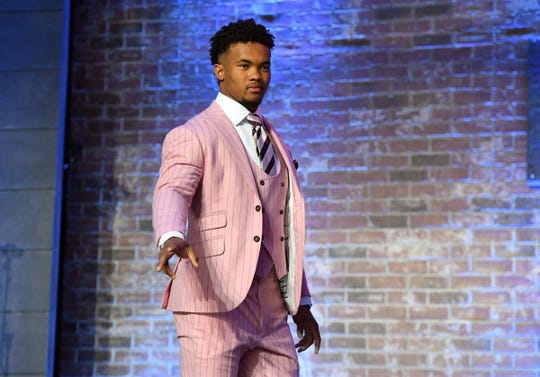 Oklahoma QB Kyler Murray takes the stage prior to the first round of the NFL draft in downtown Nashville, April 25, 2019.
