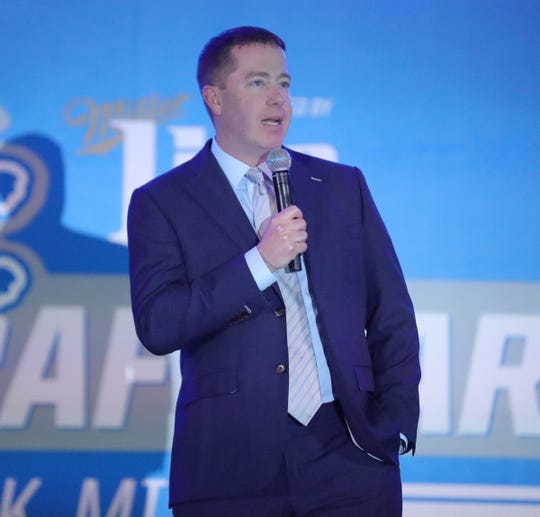 GM Bob Quinn talks to Detroit Lions fans during the draft party Thursday, April 25, 2019 at the practice facility in Allen Park.