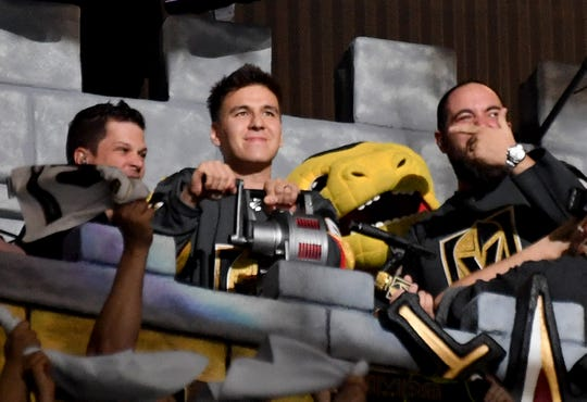 """""""Jeopardy!"""" champion James Holzhauer of Nevada sounds a siren in the Castle before the start of Game Six of the Western Conference First Round between the San Jose Sharks and the Vegas Golden Knights during the 2019 NHL Stanley Cup Playoffs."""