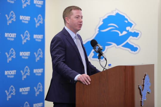 Bob Quinn talks about Detroit Lions first-round pick Iowa tight end T.J. Hockenson, Thursday, April 25, 2019 at the practice facility in Allen Park.