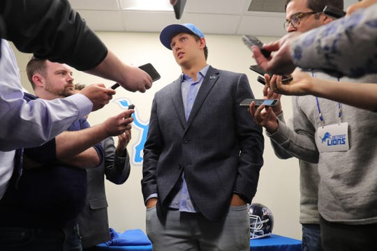 Detroit Lions first-round draft pick T.J. Hockenson talks with reporters Friday, April 26, 2019 at the practice facility in Allen Park.
