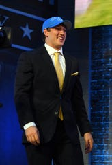 T.J. Hockenson after being selected by the Lions.