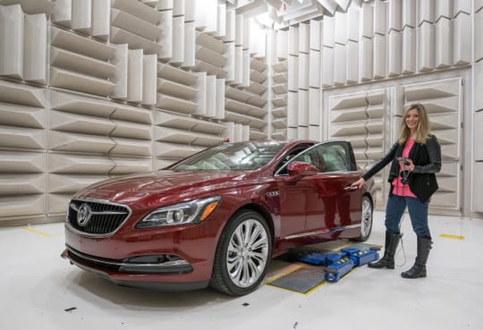Marissa West, Director of GM's Global Noise and Vibration Vehicle Dynamics group, in GM's Noise & Vibration Center