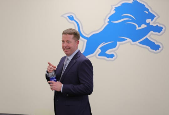 Bob Quinn on Thursday at the practice facility in Allen Park.