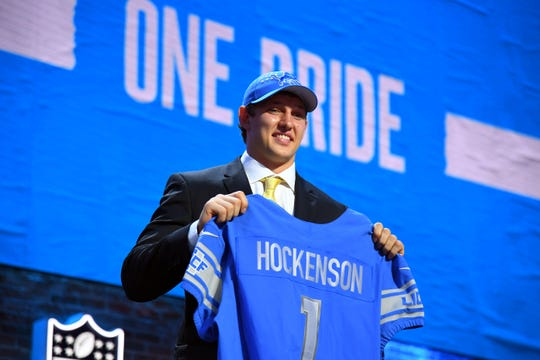 T.J. Hockenson poses after he is selected as the eighth overall pick.