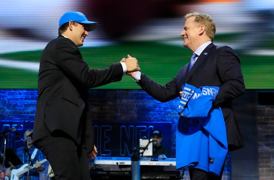 T.J. Hockenson NFL commissioner Roger Goodell after being chosen 8th overall by the Detroit Lions on April 25 in Nashville, Tenn.