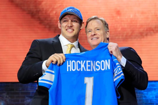 T.J. Hockenson with NFL commissioner Roger Goodell after being chosen 8th overall by the Detroit Lions during the first round of the 2019 NFL draft on April 25, 2019 in Nashville, Tenn.