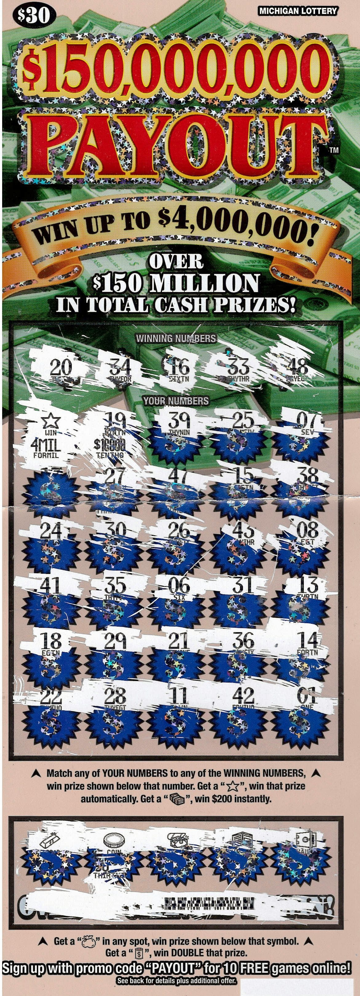 A Genesee County woman's $4-million winning Michigan instant lottery ticket.