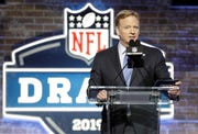 NFL Commissioner Roger Goodell speaks ahead of the first round of the NFL Draft.