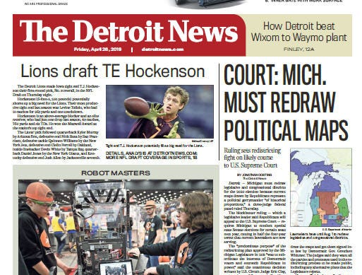 Front page of  The Detroit News on Friday, April 26, 2019.