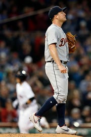 Tigers pitcher Jordan Zimmermann reacts after giving up a two-run home run to Boston's Michael Chavis in the second inning of Thursday's 7-3 loss.