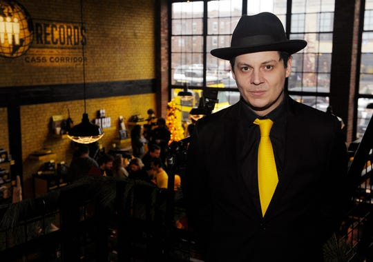 Jack White at the Third Man Records store in Detroit's Cass Corridor.