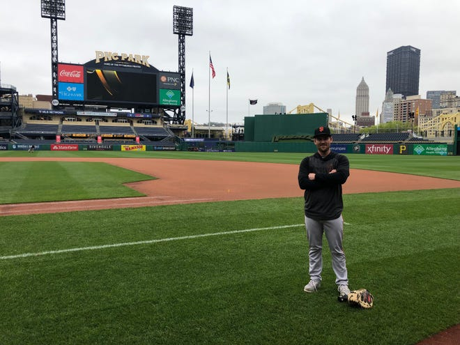 Brant Whiting stands at the Pittsburgh Pirates' PNC Park.