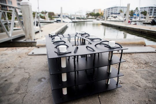 Artifical reefs built by David Wolff of Ocean Habitats Wolff will soon be under docks at the Fish Tale Marina. Al Durrett, the owner of the marina bought 40 of the reefs. The reef mimics a mangrove habitat that will attract crabs, oysters and other anumals that naturally filter the water.