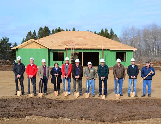 A groundbreaking ceremony was held March 28 for the Laona State Bank office being constructed in Lakewood. From left are Matthew Popp of Laona State Bank, Tom Haberstein of the town of Lakewood, bank President Dick Popp, Kathy Rank and Russ Kralovetz of the Lakewood Chamber of Commerce, Andrew School, Paul Renkas, Jerry Banie, Stan Sopkowicz, Brian Luc Connor and Richard Connor, all of Laona State Bank.
