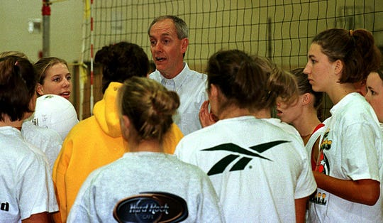 Former Preble volleyball coach Lee Stuyvenberg talks to his team before a practice in 1999.