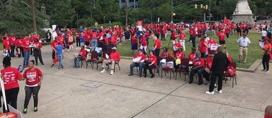 About 200 teachers and state employees rallied at the Statehouse last spring to call for better pay and conditions. About 2,000 teachers and supporters are expected to participate in an event on Wednesday.