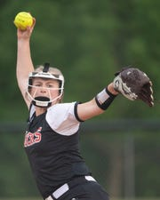 Blue Ridge's Ally Sullivan (13) pitches against Pickens High School during the game at Blue Ridge Thursday, April 25, 2019.