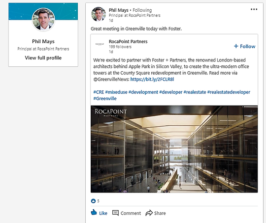 RocaPoint Principal Phil Mays, the Atlanta-based developer for the proposed $1 billion redevelopment of Greenville County near downtown Greenville, posted this message on LinkedIn on Thursday, April 25, 2019, saying he had met earlier that day with the architecture firm, Foster + Partners, that is designing a proposed new office tower for county government.