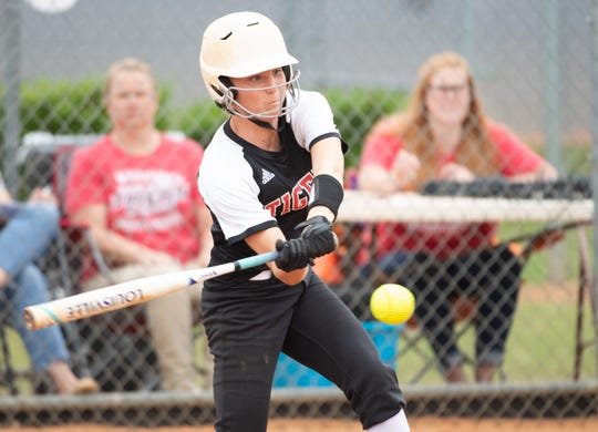 Blue Ridge's Baylie King (10) hits the ball to bring home three runners during the game against Pickens High School at Blue Ridge Thursday, April 25, 2019.