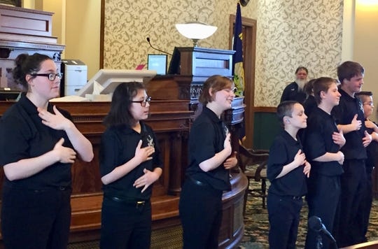 Students from the Montana School for the Deaf and Blind perform for Senators during the 2019 legislative session.