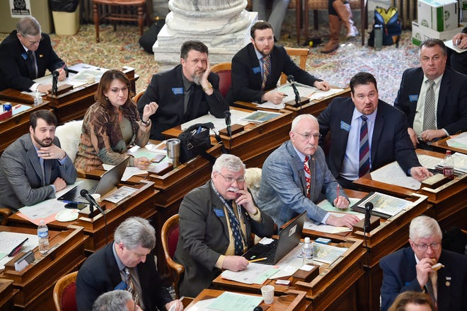 The Montana House of Representatives votes on a bill at the State Capitol Thursday, April 25, 2019, in Helena, Mont. (Thom Bridge/Independent Record via AP)