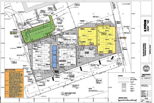 Plans for the Guam National Tennis Center on Harmon Loop Road in Dededo.