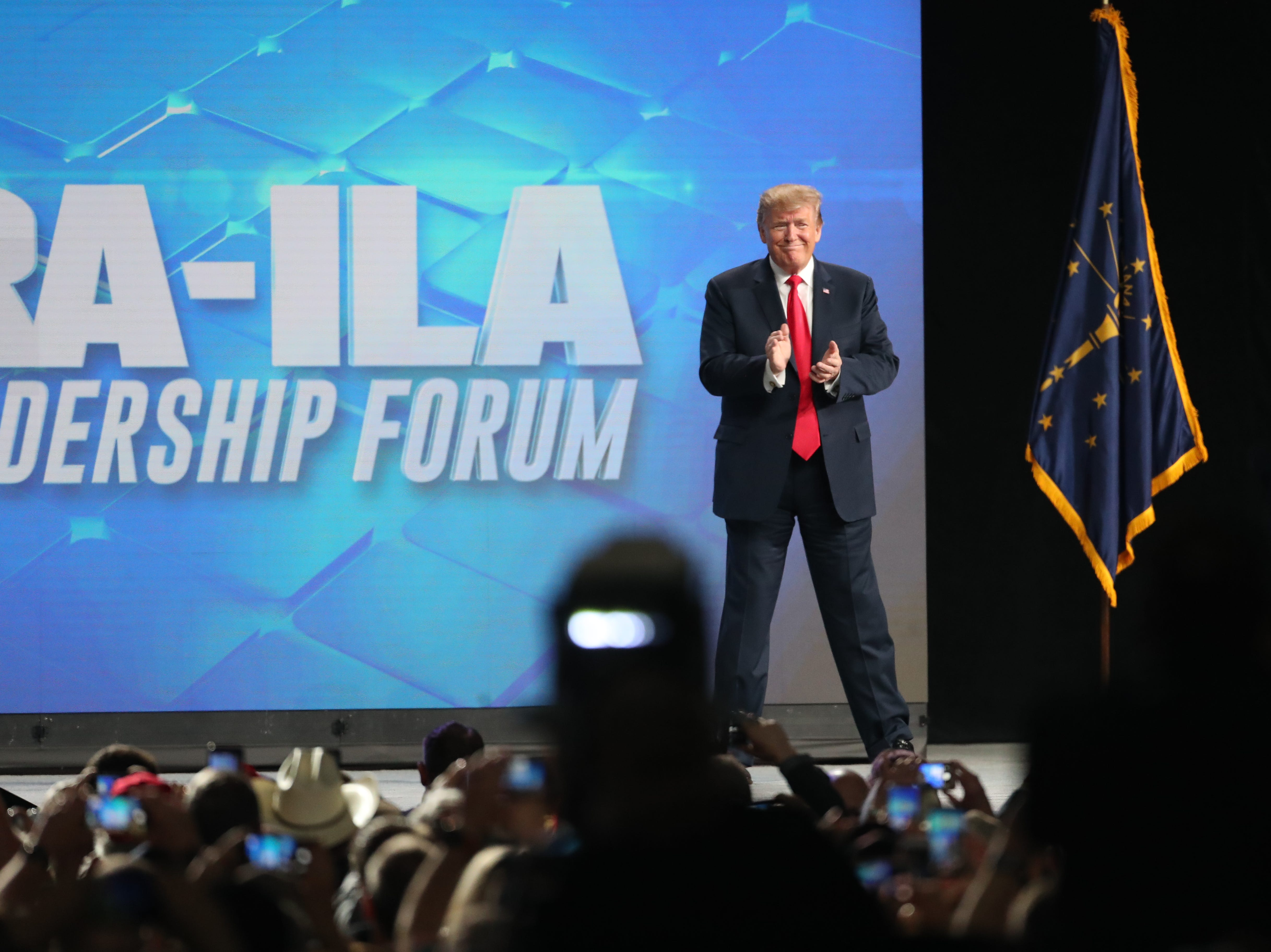 President Donald Trump arrives at the National Rifle Association Institute for Legislative Action Leadership Forum, Friday, April 26, 2019, at Lucas Oil Stadium in Indianapolis. The forum is part of the 148th NRA annual meetings and exhibits in Indianapolis.