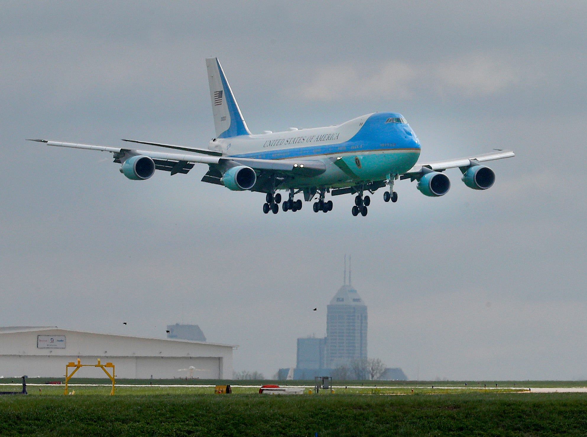 Air Force One with President Donald Trump aboard arrives at the Indianapolis International Airport. President Trump and VP Mike Pence spoke at the NRA-ILA Leadership Forum at Lucas Oil Stadium on Friday, April 26, 2019.