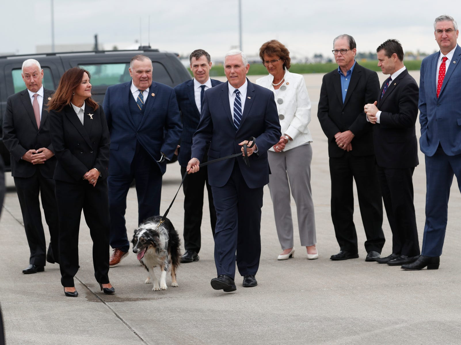 Vice President Mike Pence and his wife, Karen arrive in Indianapolis on April 26, 2019. Congressman Greg Pence, Congressmen Jim Baird, Jim Banks, Congresswoman Jackie Walorski, Senators Mike Braun and Todd Young and Gov. Eric Holcomb  greeted the couple at the Indianapolis International Airport. Pence will speak before the 2019 NRA Meeting and Exhibit at Lucas Oil Stadium. Their dog, Harley accompanied them on the trip.