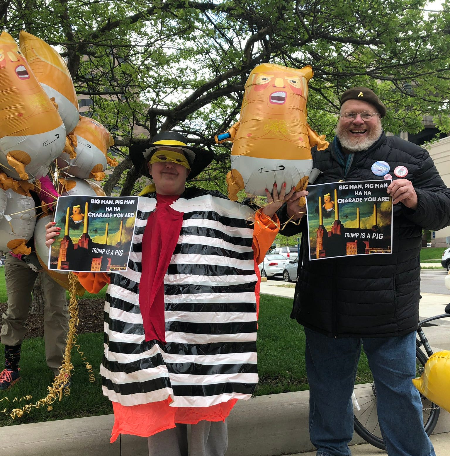 At Indy NRA convention protest: 'Baby Trump' balloons, a Hamburglar and fears of 'creeping fascism'