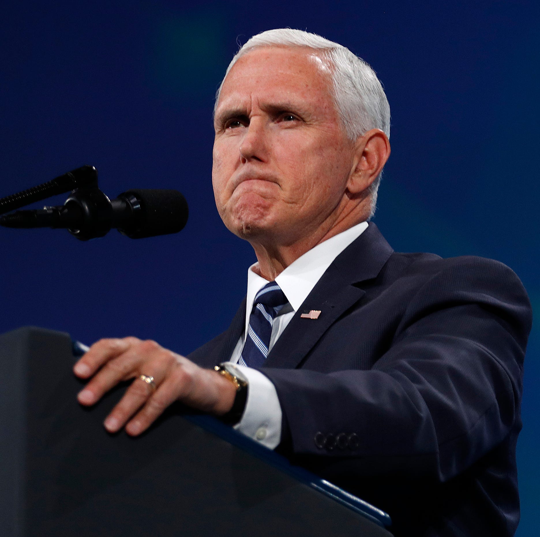 Vice President Mike Pence speaks to supporters at the NRA-ILA Leadership Forum at Lucas Oil Stadium on Friday, April 26, 2019.