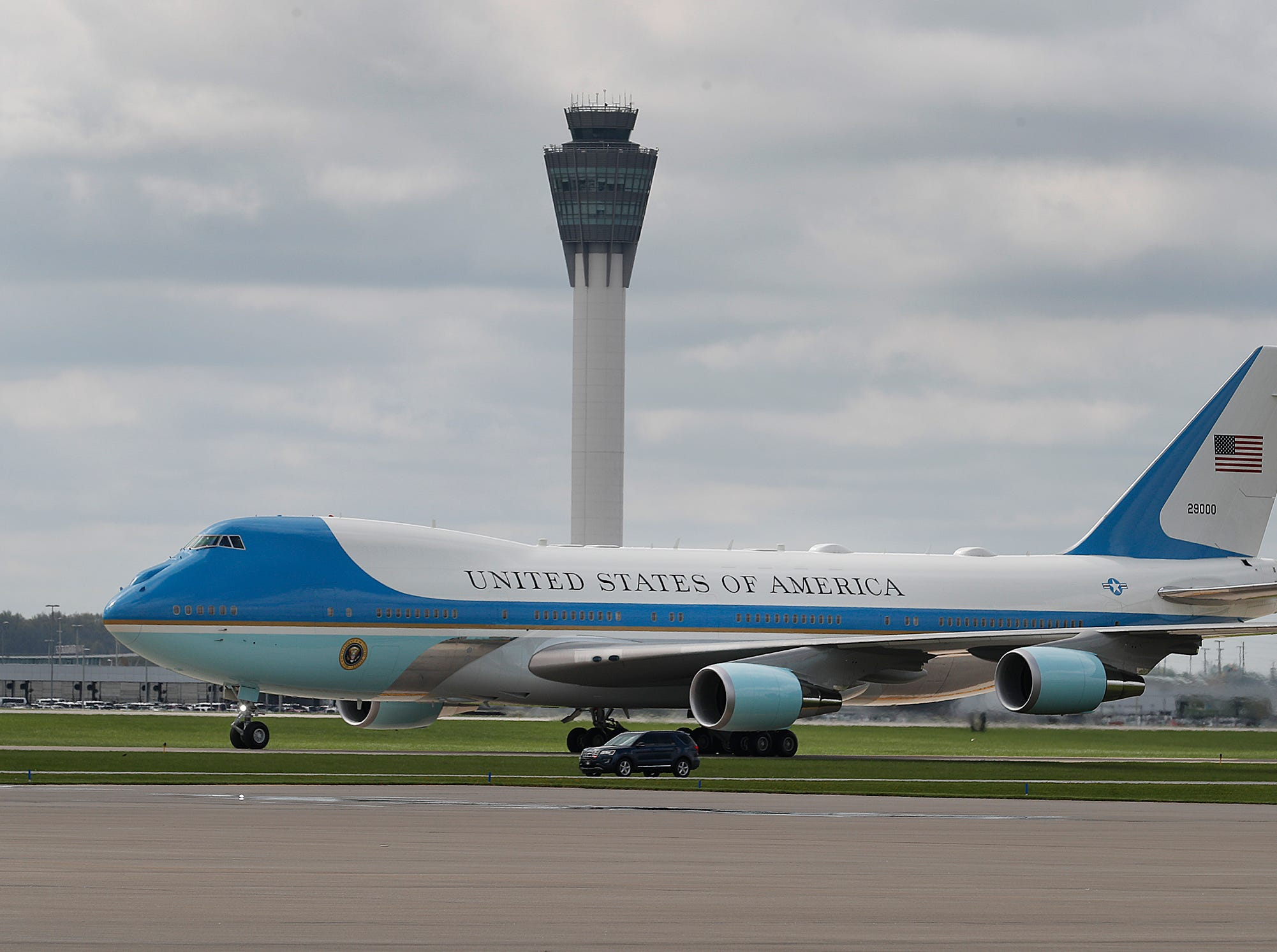 Air Force One with President Donald Trump arrives at the Indianapolis International Airport. Trump and VP Mike Pence spoke at the NRA-ILA Leadership Forum at Lucas Oil Stadium on Friday, April 26, 2019.