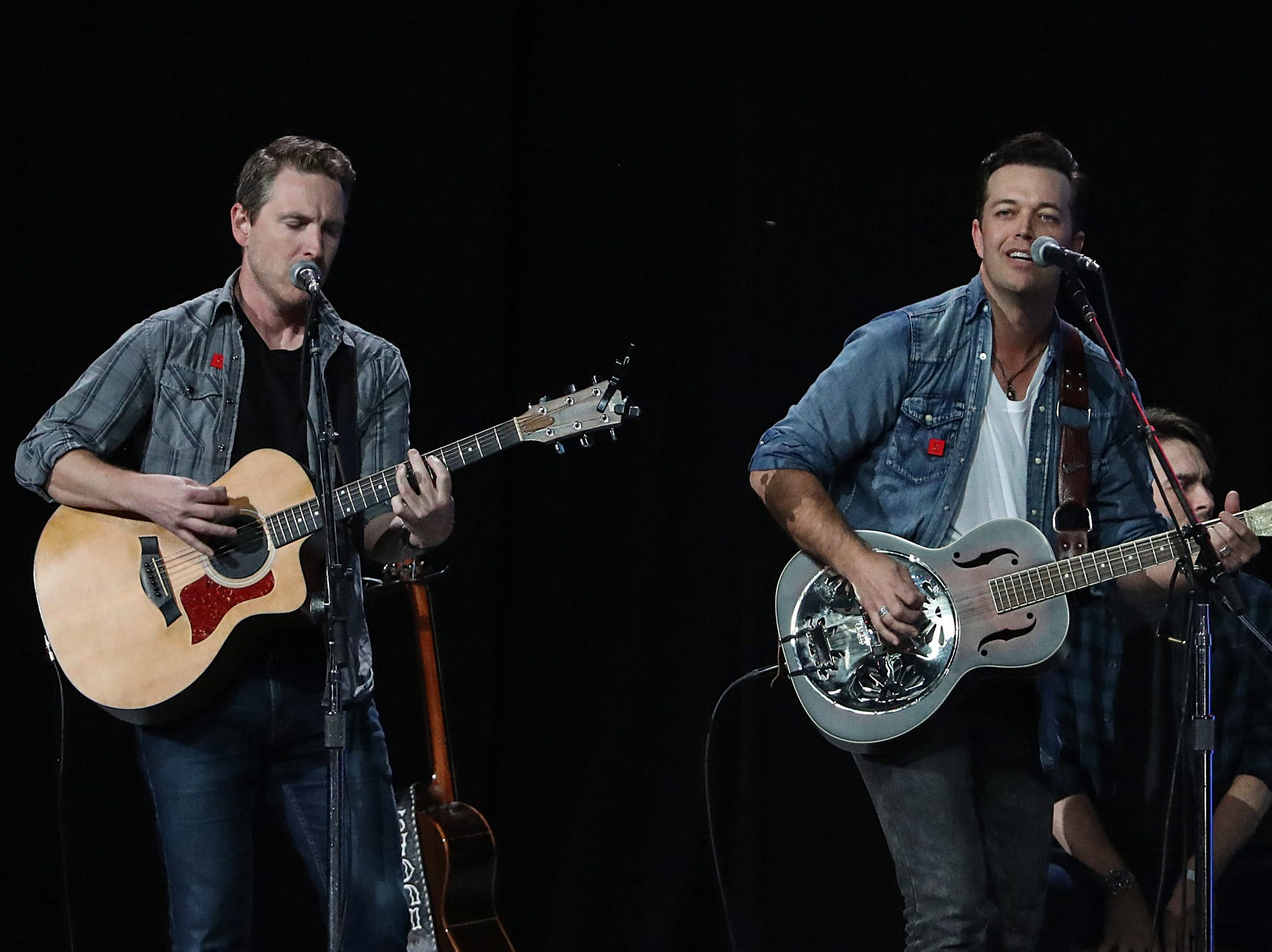 Lucas Hoge performs before the National Rifle Association Institute for Legislative Action Leadership Forum begins, Friday, April 26, 2019, at Lucas Oil Stadium in Indianapolis. The forum is part of the 148th NRA annual meetings and exhibits in Indianapolis.