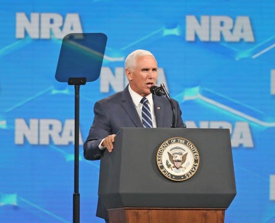 Vice President Mike Pence speaks to the crowd at the NRA Institute for Legislative Action (NRA-ILA) Leadership Forum at Lucas Oil Stadium on Friday, April 26, 2019.