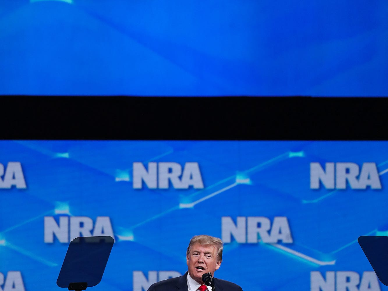 United States President Donald Trump speaks at the National Rifle Association Institute for Legislative Action Leadership Forum, Friday, April 26, 2019, at Lucas Oil Stadium in Indianapolis.