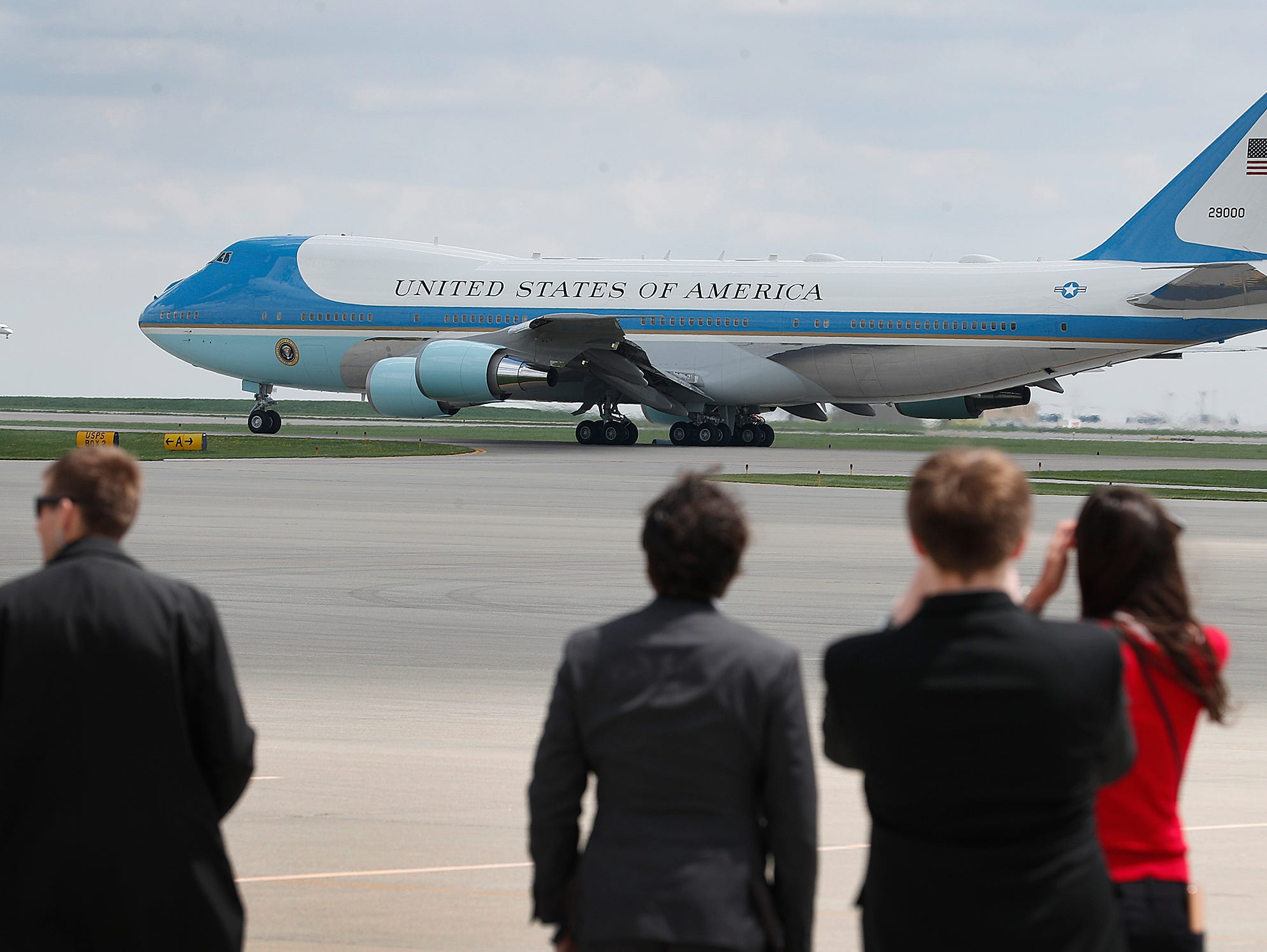 Air Force One with President Donald Trump departs Indianapolis International Airport after he spoke at the NRA-ILA Leadership Forum at Lucas Oil Stadium on Friday, April 26, 2019.