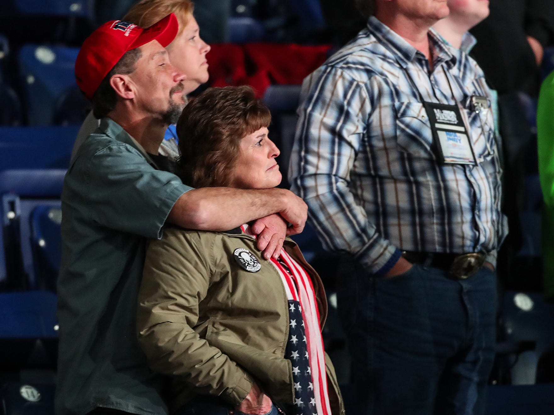 Spectators show their support as United States President Donald Trump speaks at the National Rifle Association Institute for Legislative Action Leadership Forum, Friday, April 26, 2019, at Lucas Oil Stadium in Indianapolis.