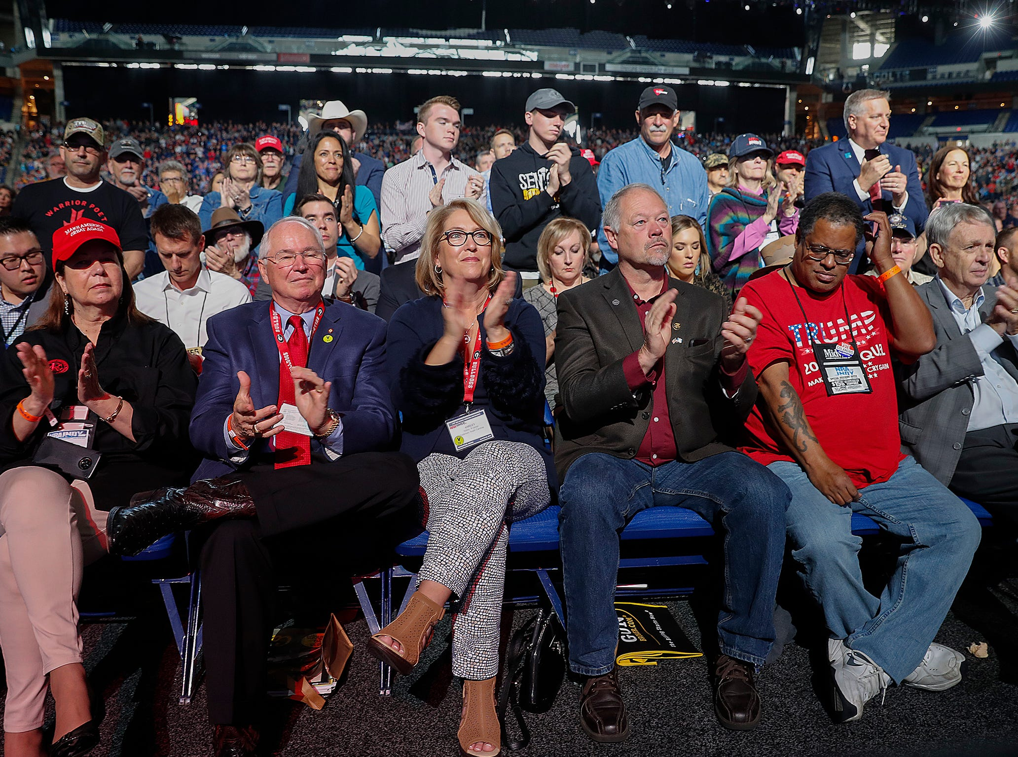 President Donald Trump supporters listen to him speak at the NRA-ILA Leadership Forum at Lucas Oil Stadium on Friday, April 26, 2019.