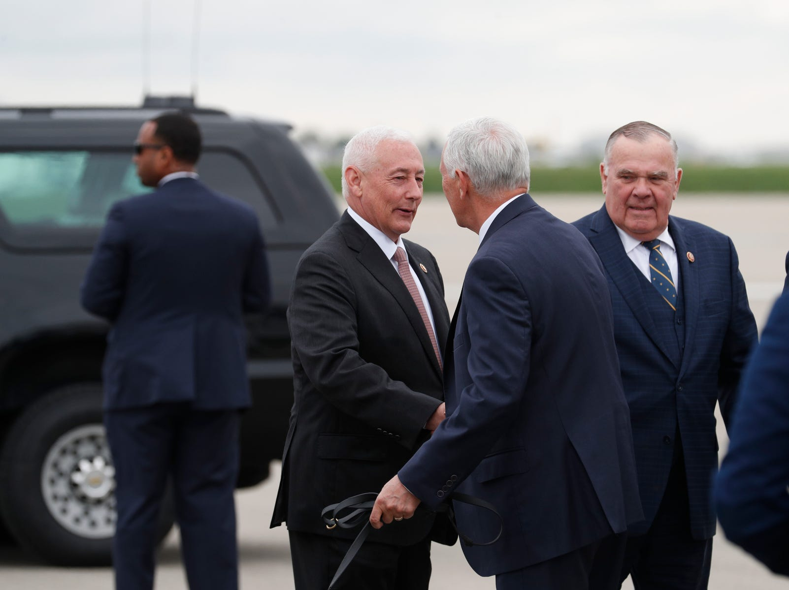 Congressman Greg Pence greets his brother, Vice President Mike Pence at the Indianapolis International Airport on April 26, 2019. Pence will speak at the 2019 NRA-ILA's annual Leadership Forum at Lucas Oil Stadium.