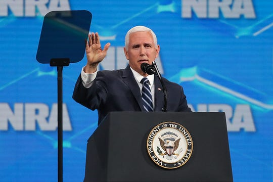 United States Vice President Mike Pence speaks at the National Rifle Association Institute for Legislative Action Leadership Forum, Friday, April 26, 2019, at Lucas Oil Stadium in Indianapolis.