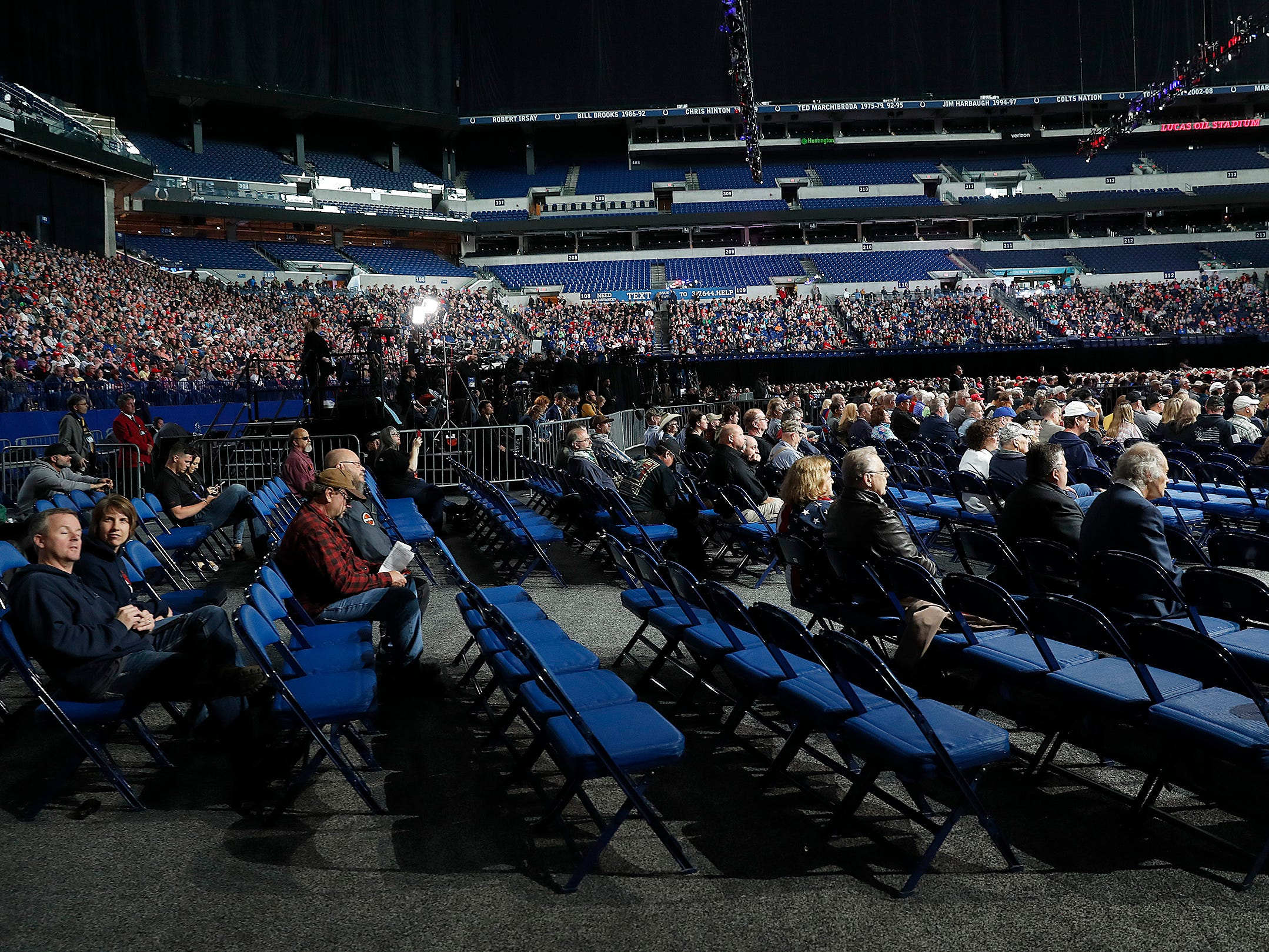 Plenty of good seats were still available on the floor of Lucas Oil Stadium as President Donald Trump speaks to his supporters at the NRA-ILA Leadership Forum at Lucas Oil Stadium on Friday, April 26, 2019.