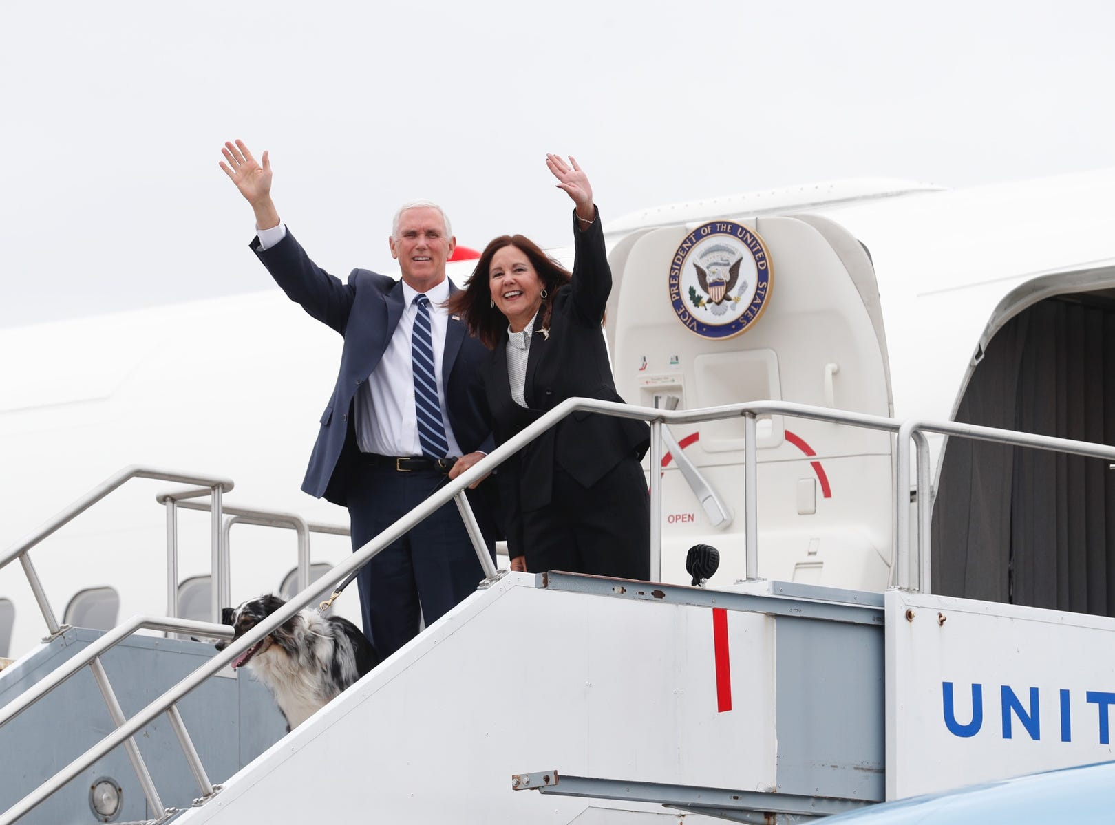 Vice President Mike Pence and his wife, Karen arrive at the Indianapolis International Airport on Friday, April 26, 2019. Pence will speak at the 2019 NRA-ILA's annual Leadership Forum at Lucas Oil Stadium.