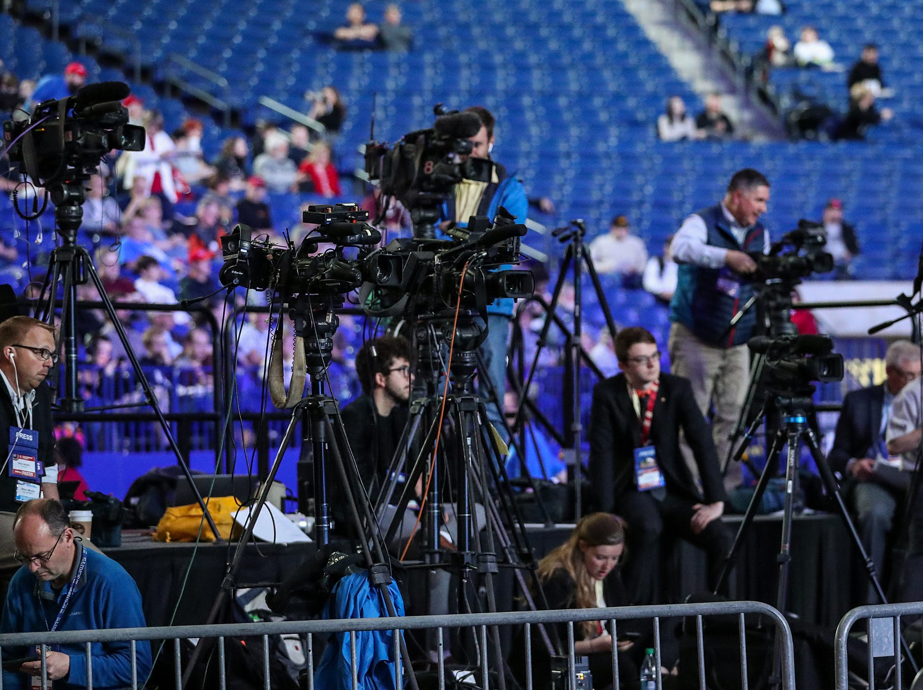 Media cameras are set before the National Rifle Association Institute for Legislative Action Leadership Forum, Friday, April 26, 2019, at Lucas Oil Stadium in Indianapolis. The forum is part of the 148th NRA annual meetings and exhibits in Indianapolis.