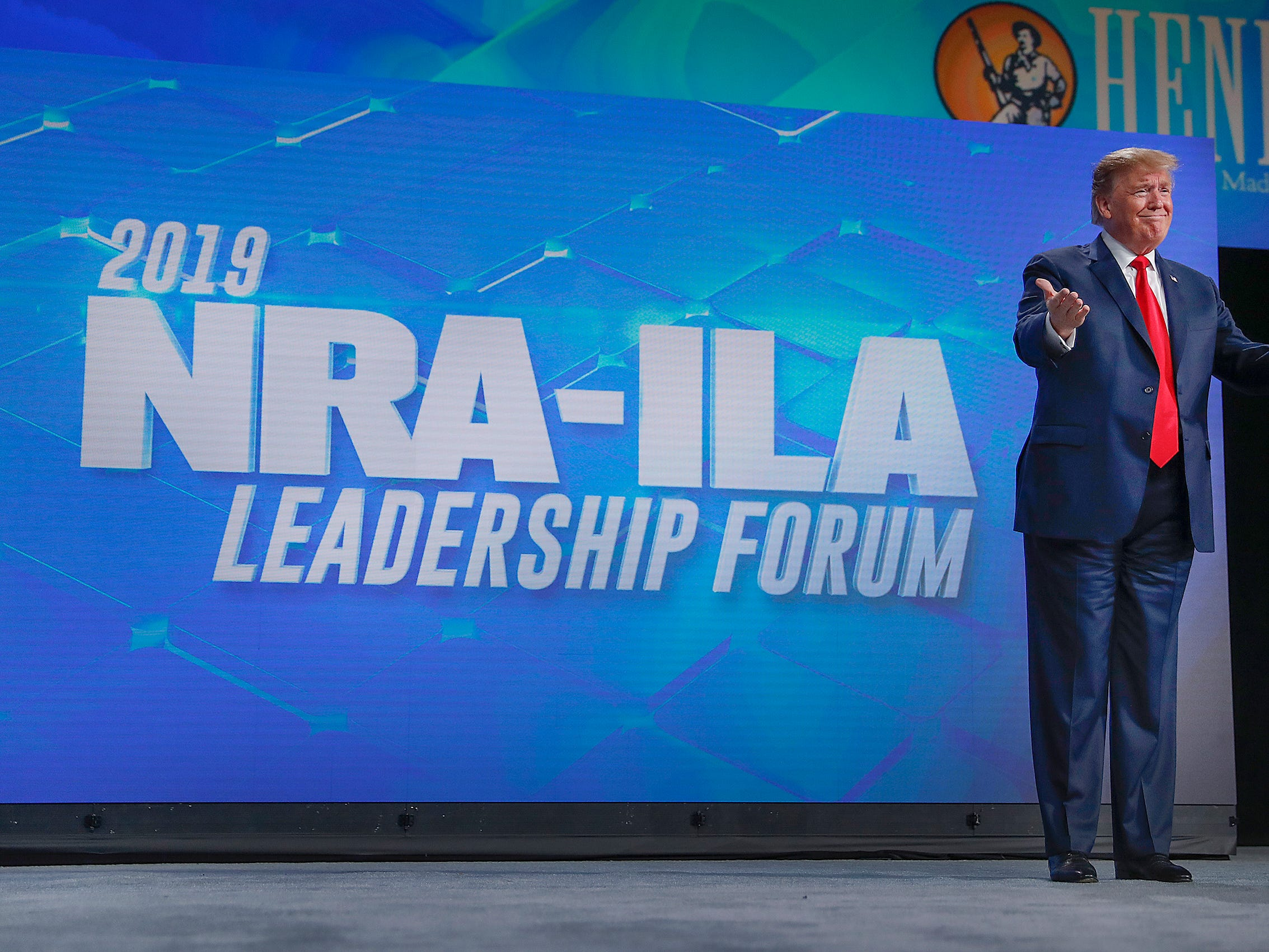President Donald Trump greets his supporters at the NRA-ILA Leadership Forum at Lucas Oil Stadium on Friday, April 26, 2019. The forum is part of the 148th NRA annual meetings and exhibits in Indianapolis.